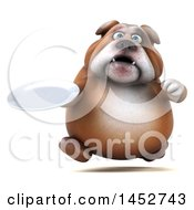 3d Bill Bulldog Mascot Holding A Plate On A White Background