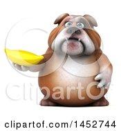 3d Bill Bulldog Mascot Holding A Banana On A White Background