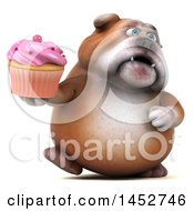 3d Bill Bulldog Mascot Holding A Cupcake On A White Background