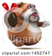 Clipart Of A 3d Bill Bulldog Mascot Holding A Chocolate Easter Egg On A White Background Royalty Free Illustration