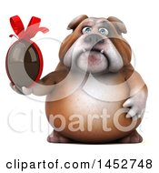 3d Bill Bulldog Mascot Holding A Chocolate Easter Egg On A White Background