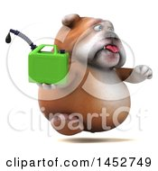 3d Bill Bulldog Mascot Holding A Gas Can On A White Background