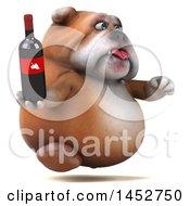 3d Bill Bulldog Mascot Holding A Wine Bottle On A White Background
