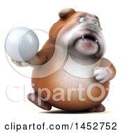 3d Bill Bulldog Mascot Holding A Golf Ball On A White Background