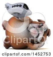3d Bill Bulldog Mascot Holding A Plane On A White Background