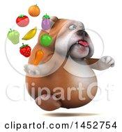 3d Bill Bulldog Mascot Holding Produce On A White Background
