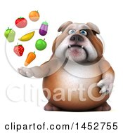 Clipart Of A 3d Bill Bulldog Mascot Holding Produce On A White Background Royalty Free Illustration