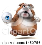 3d Bill Bulldog Mascot Holding An Eyeball On A White Background