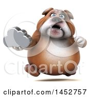 Clipart Of A 3d Bill Bulldog Mascot Holding A Cloud On A White Background Royalty Free Illustration