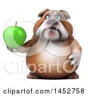 3d Bill Bulldog Mascot Holding A Green Apple On A White Background