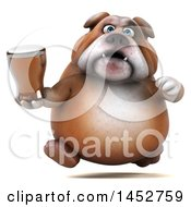 3d Bill Bulldog Mascot Holding A Beer On A White Background