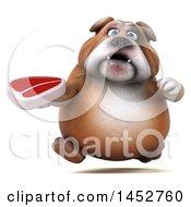 3d Bill Bulldog Mascot Holding A Steak On A White Background