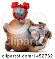 3d Bill Bulldog Mascot Holding An Alarm Clock On A White Background