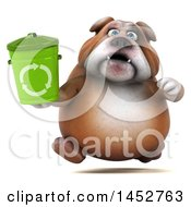 3d Bill Bulldog Mascot Holding A Recycle Bin On A White Background