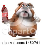 3d Bill Bulldog Mascot Holding A Soda Bottle On A White Background