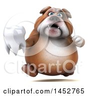 3d Bill Bulldog Mascot Holding A Tooth On A White Background