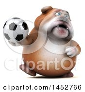 3d Bill Bulldog Mascot Holding A Soccer Ball On A White Background