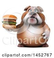 3d Bill Bulldog Mascot Holding A Burger On A White Background