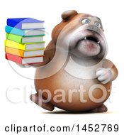 3d Bill Bulldog Mascot Holding A Stack Of Books On A White Background