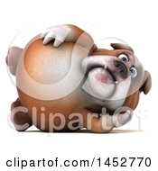 3d Bill Bulldog Mascot Resting On His Side On A White Background