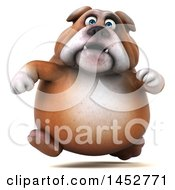 3d Bill Bulldog Mascot Running On A White Background