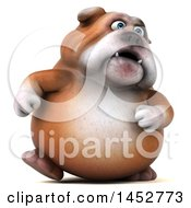3d Bill Bulldog Mascot Walking On A White Background