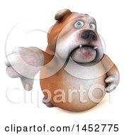 3d Bill Bulldog Mascot Giving A Thumb Down On A White Background