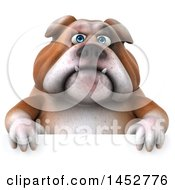 3d Bill Bulldog Mascot Over A Sign On A White Background