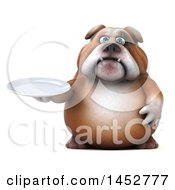 Clipart Of A 3d Bill Bulldog Mascot Holding A Plate On A White Background Royalty Free Illustration by Julos