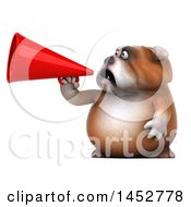 Clipart Of A 3d Bill Bulldog Mascot Usinga Megaphone On A White Background Royalty Free Illustration