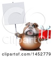 Poster, Art Print Of 3d Bill Bulldog Mascot Holding A Gift On A White Background