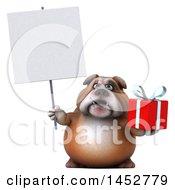 3d Bill Bulldog Mascot Holding A Gift On A White Background