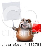 3d Bill Bulldog Mascot Holding A Shopping Or Gift Bag On A White Background