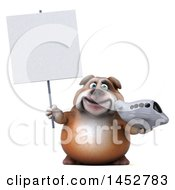Clipart Of A 3d Bill Bulldog Mascot Holding A Plane On A White Background Royalty Free Illustration