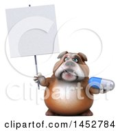 3d Bill Bulldog Mascot Holding A Pill On A White Background
