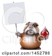 3d Bill Bulldog Mascot Holding A Blood Drop On A White Background