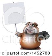 3d Bill Bulldog Mascot Holding A Camera On A White Background