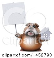 3d Bill Bulldog Mascot Holding A House On A White Background