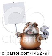 3d Bill Bulldog Mascot Holding A Dollar Symbol On A White Background