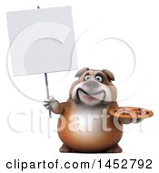 3d Bill Bulldog Mascot Holding A Pizza On A White Background