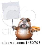 3d Bill Bulldog Mascot Holding A Hot Dog On A White Background