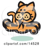 Orange Cat Running And Looking Back Clipart Illustration
