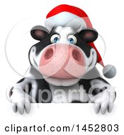 3d Christmas Holstein Cow Character On A White Background