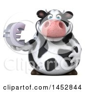Poster, Art Print Of 3d Holstein Cow Character Holding A Euro Symbol On A White Background