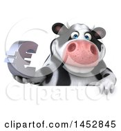 3d Holstein Cow Character Holding A Euro Symbol On A White Background