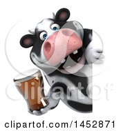 Poster, Art Print Of 3d Holstein Cow Character Holding A Beer On A White Background