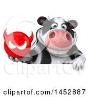 Clipart Graphic Of A 3d Holstein Cow Character Holding A Devil Head On A White Background Royalty Free Illustration