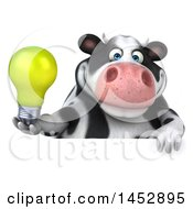 Poster, Art Print Of 3d Holstein Cow Character Holding A  On A White Background