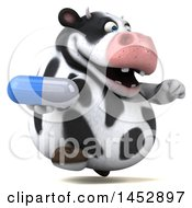 3d Holstein Cow Character Holding A Pill On A White Background