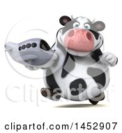 Poster, Art Print Of 3d Holstein Cow Character Holding A Plane On A White Background
